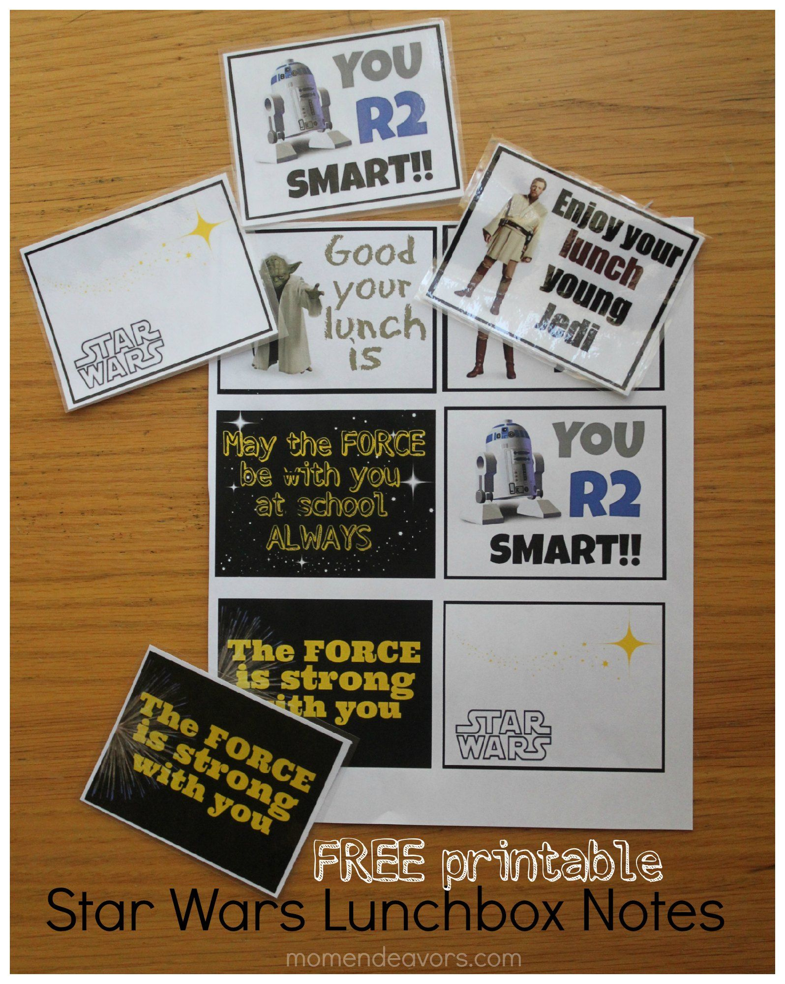 Free Printable Star Wars Lunchbox Notes. Perfect For Your Little - May The Force Be With You Free Printable