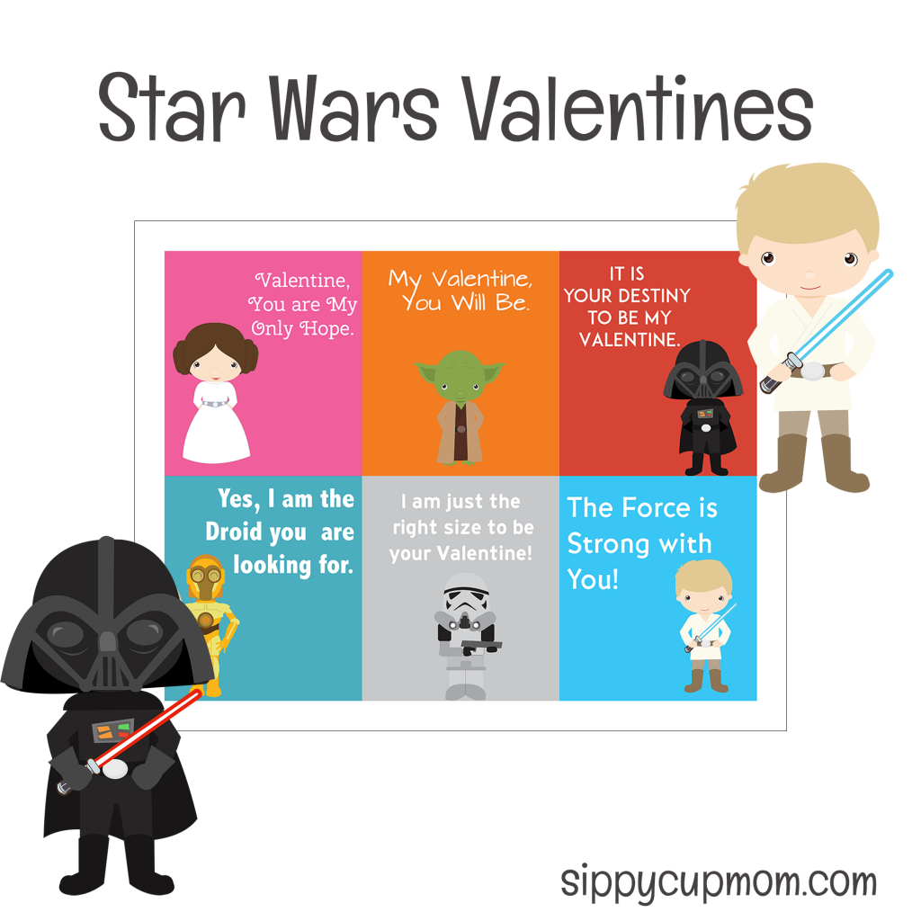 Free Printable Star Wars Valentine's Day Cards - Sippy Cup Mom - Free Printable Lego Star Wars Valentines