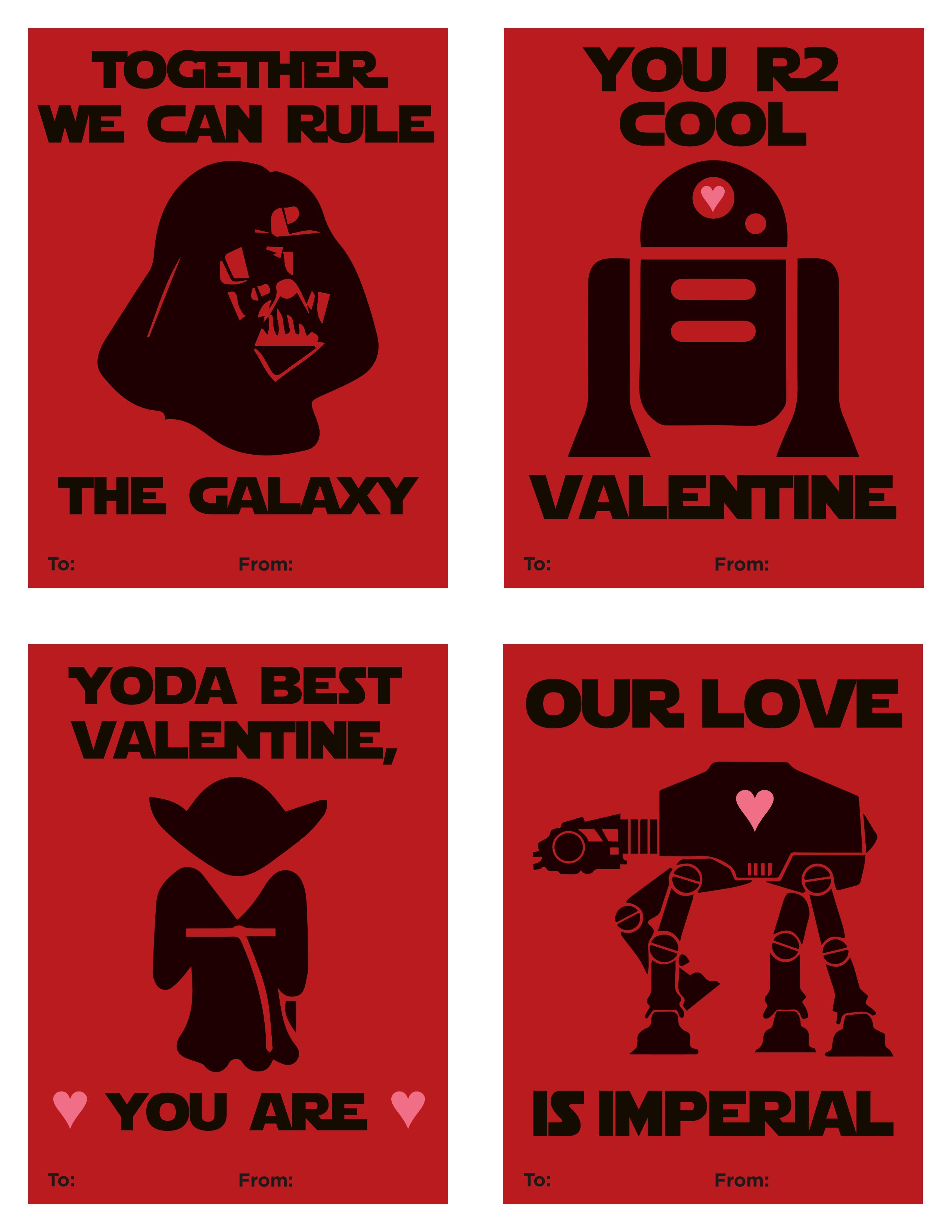 Free Printable Star Wars Valentines – Valentine's Day 2016 - Star Wars Printable Cards Free