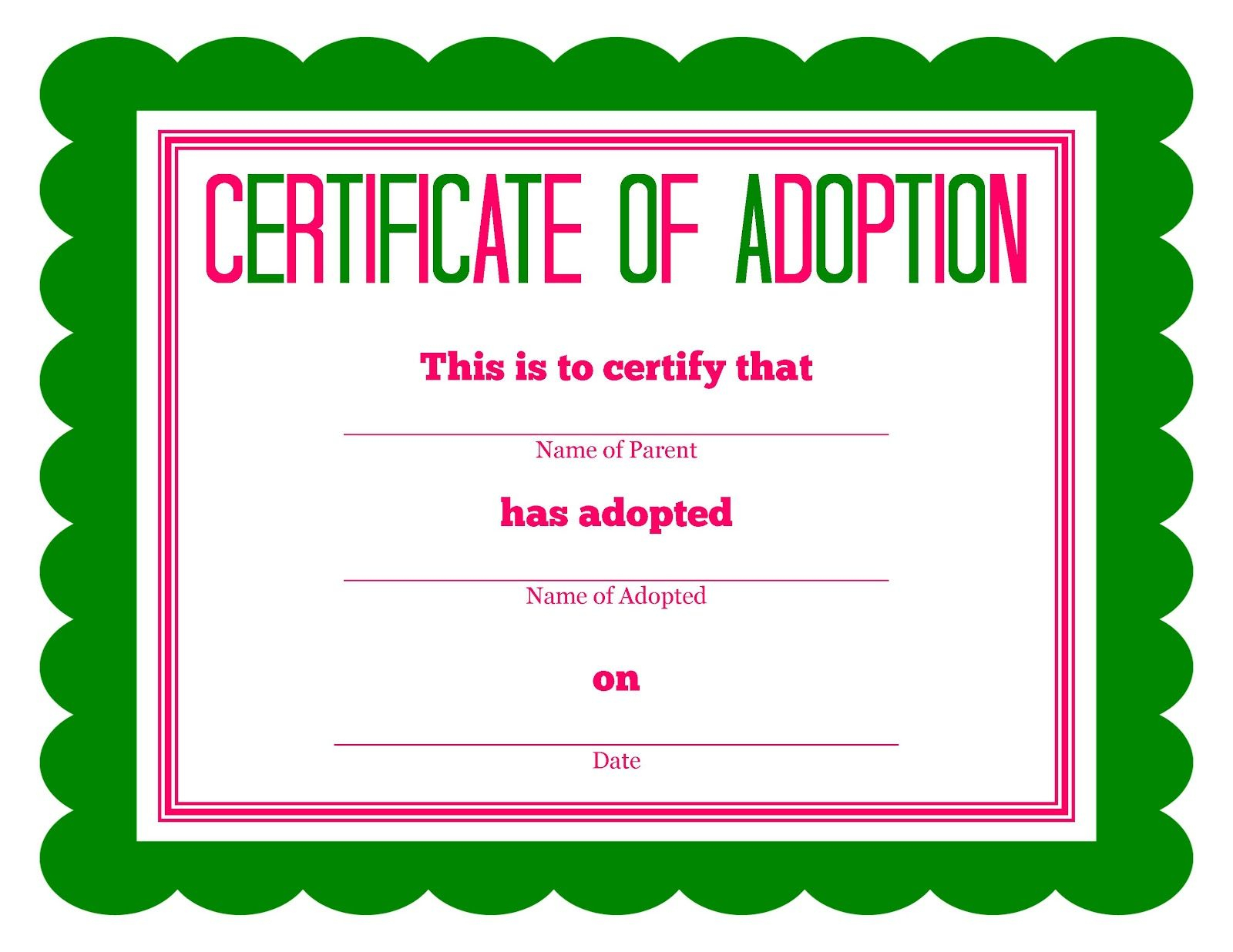 Free Printable Stuffed Animal Adoption Certificate   Free Printables - Fake Adoption Certificate Free Printable