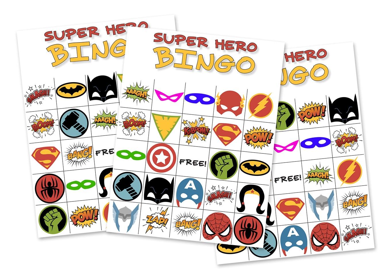Free Printable Super Hero Bingo Party - Free Printable Superhero Pictures