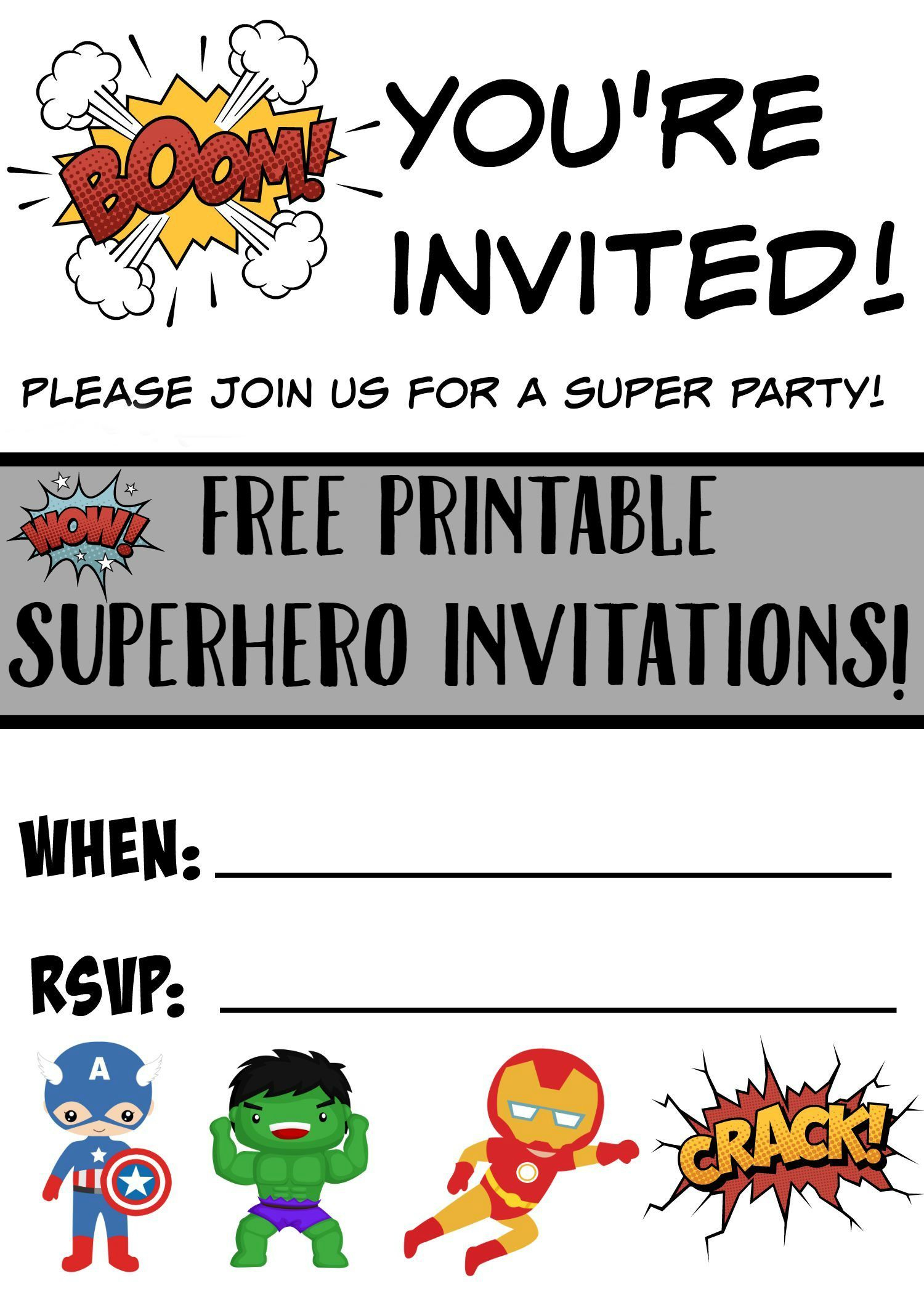 Free Printable Superhero Birthday Invitations | Superheroes Party - Avengers Printable Invitations Free