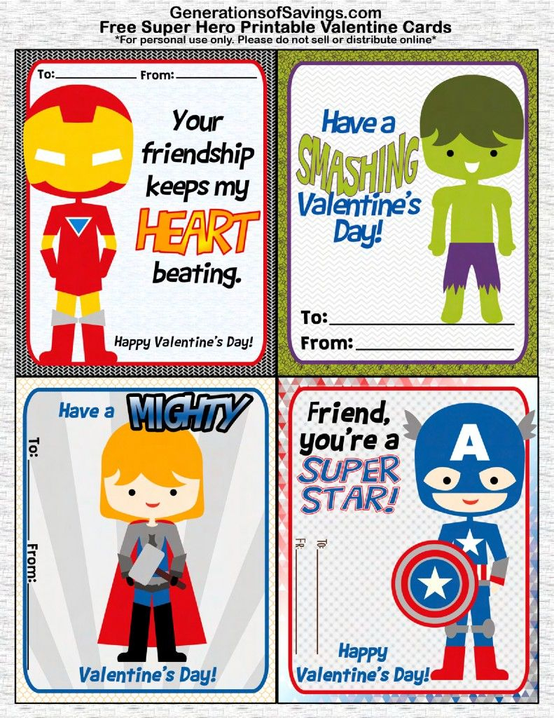 Free Printable Superhero Valentine's Day Cards | Valentine Love - Free Printable Superman Valentine Cards