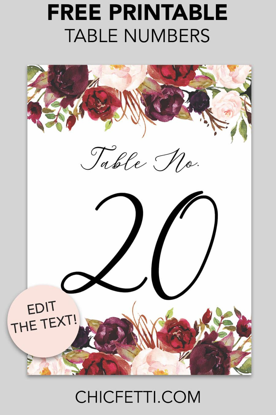 Free Printable Table Numbers - Download And Print These Free Printab - Free Printable Table Numbers