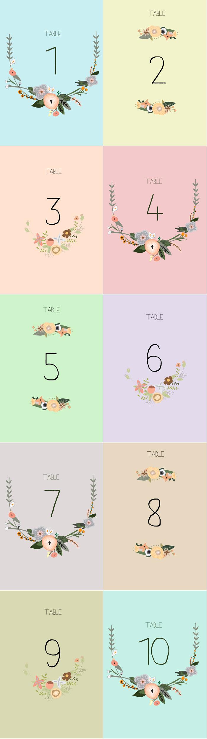 Free Printable Table Numbers - Free Printable Table Numbers