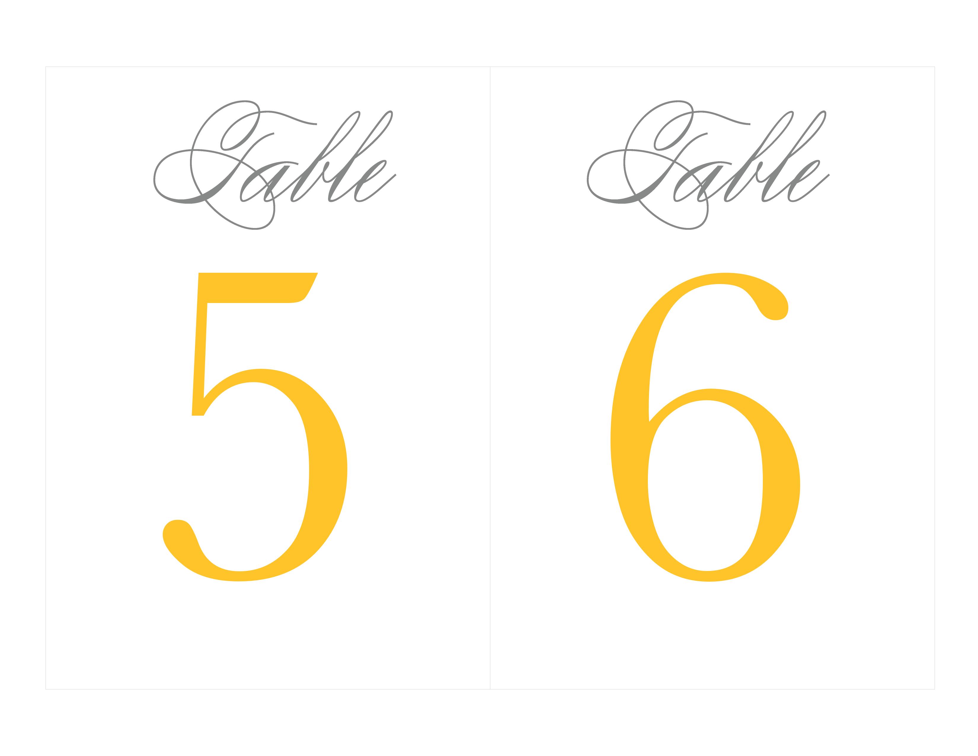 Free Printable Table Numbers   Wedding Ideas - Grey & Yellow - Free Printable Table Numbers