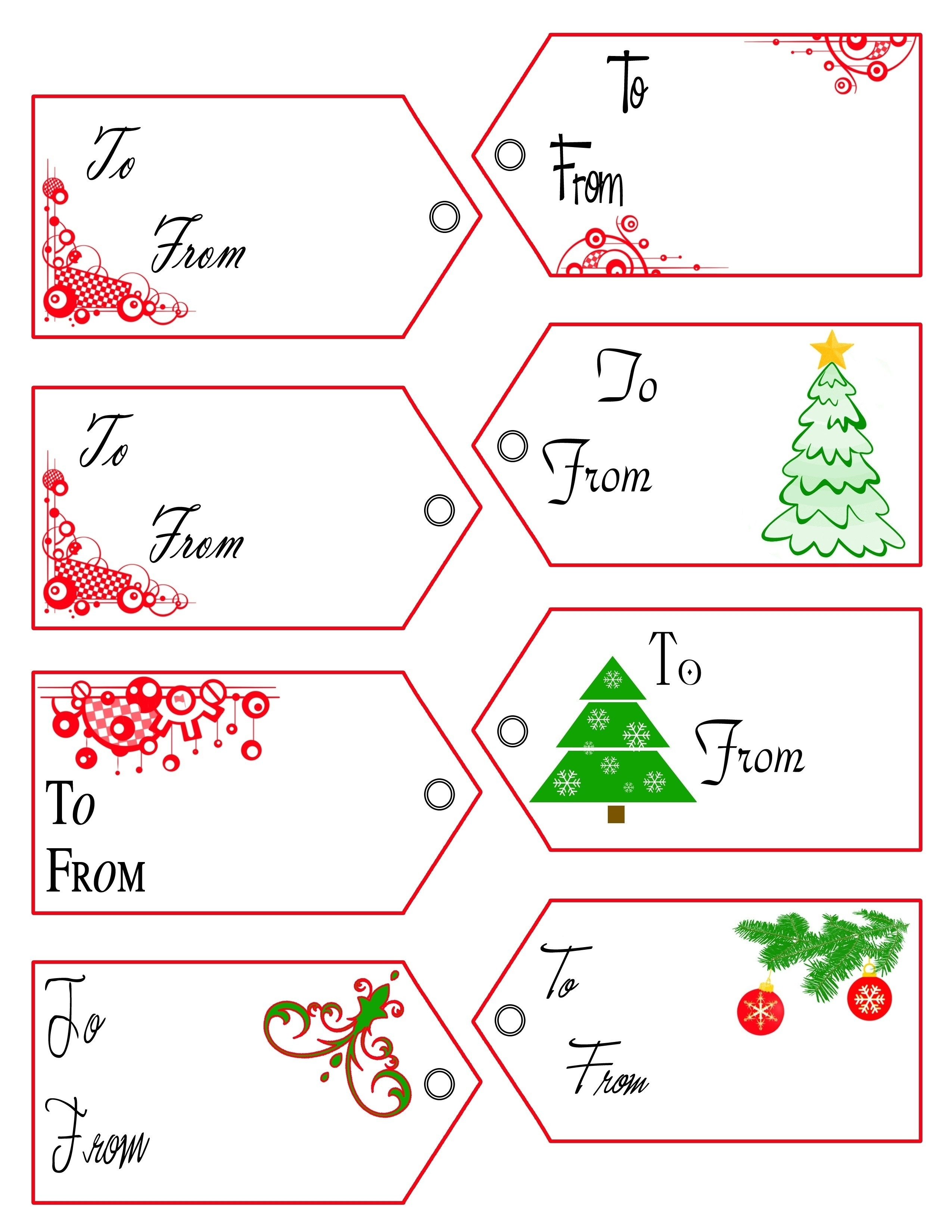 Free Printable Tag Templates 2018 | Corner Of Chart And Menu - Free Printable Gift Tags Templates