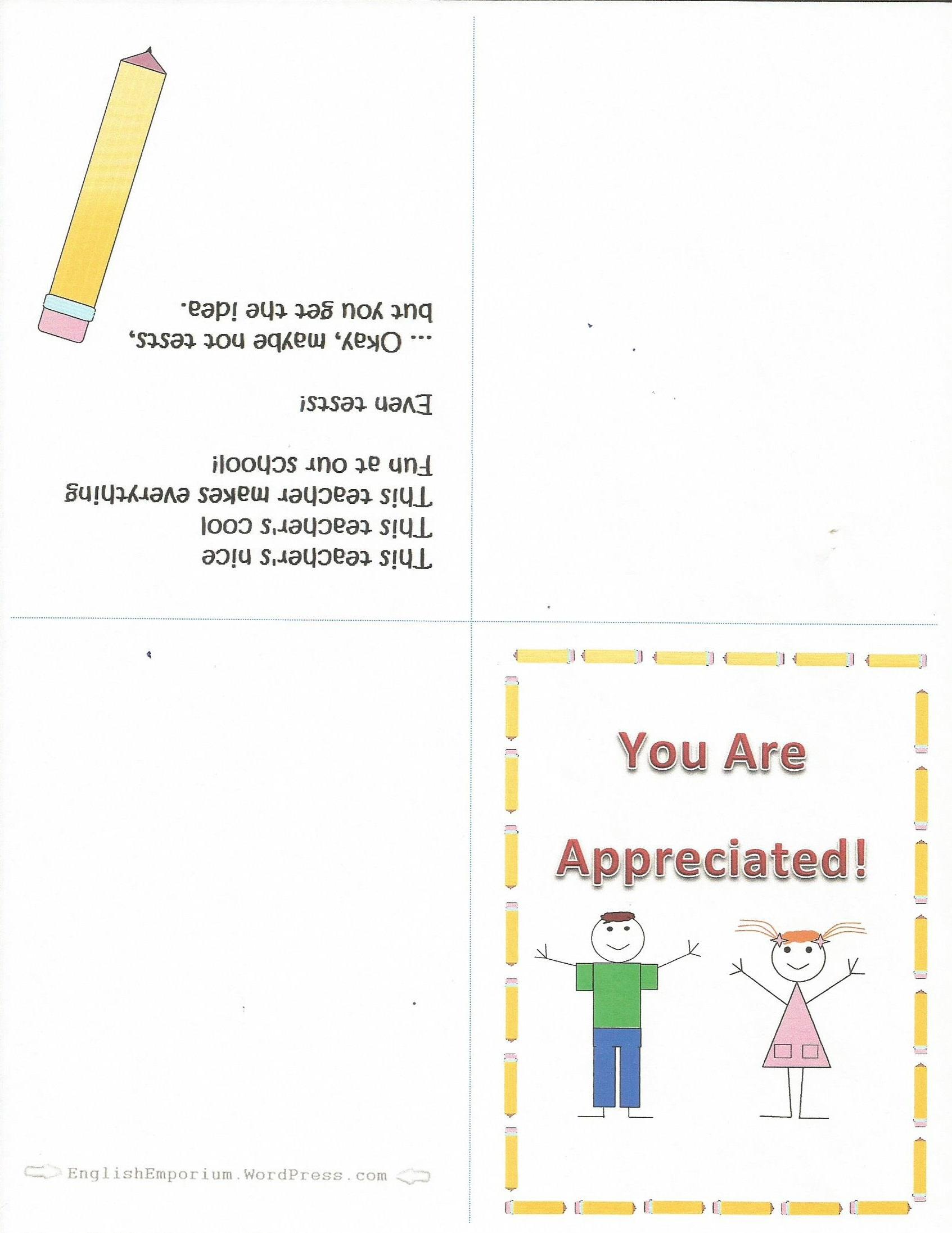 Free Printable Teacher Appreciation Card | Secret Pal Ideas From - Free Printable Teacher Appreciation Cards