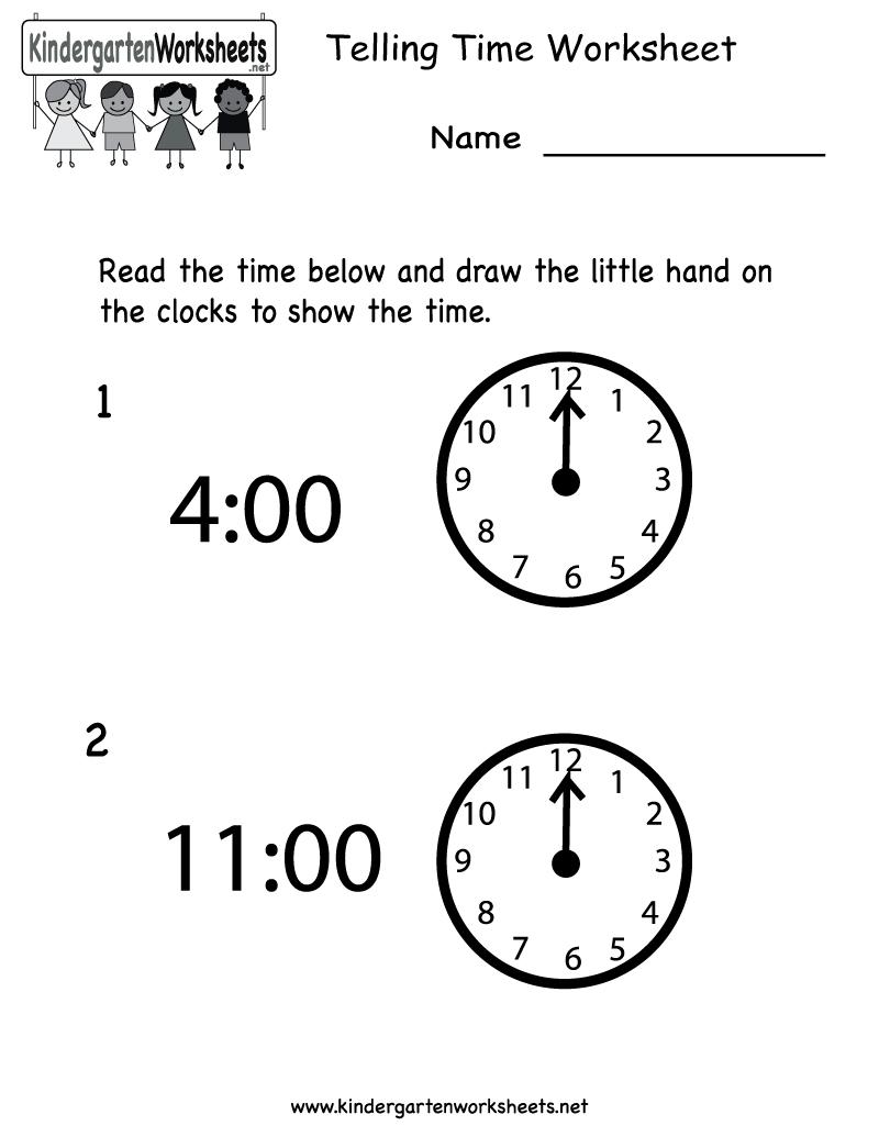 Free Printable Telling Time Worksheet For Kindergarten - Free Printable Telling Time Worksheets