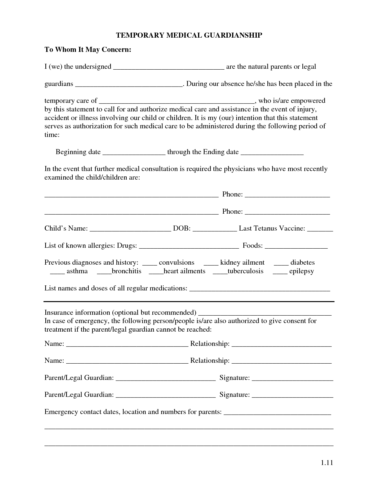 Free Printable Temporary Guardianship Forms | Forms - Free Printable Temporary Guardianship Form