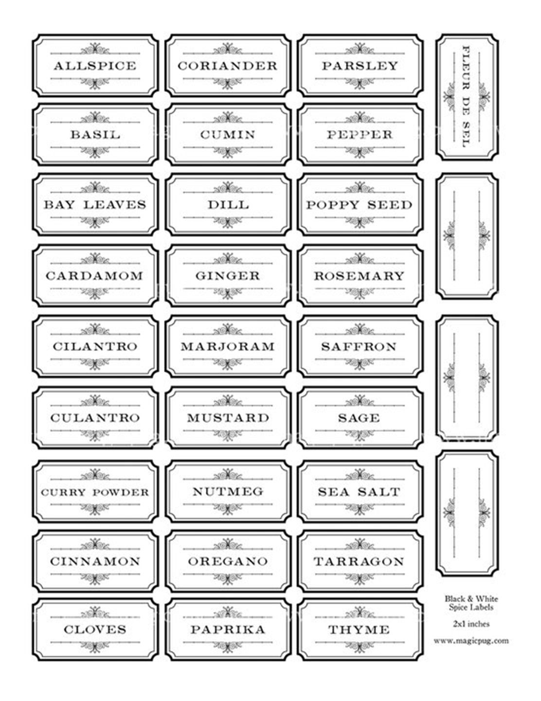 Free Printable | Text Art Craft | Pinterest | Herb Labels, Kitchen - Free Printable Spice Labels