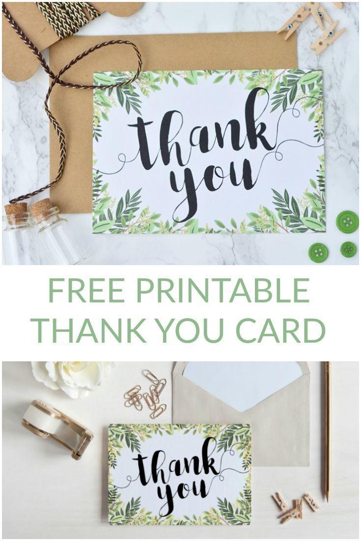 Free Printable Thank You Botanical Inspired Card | Digital Cards - Thank You Card Free Printable Template