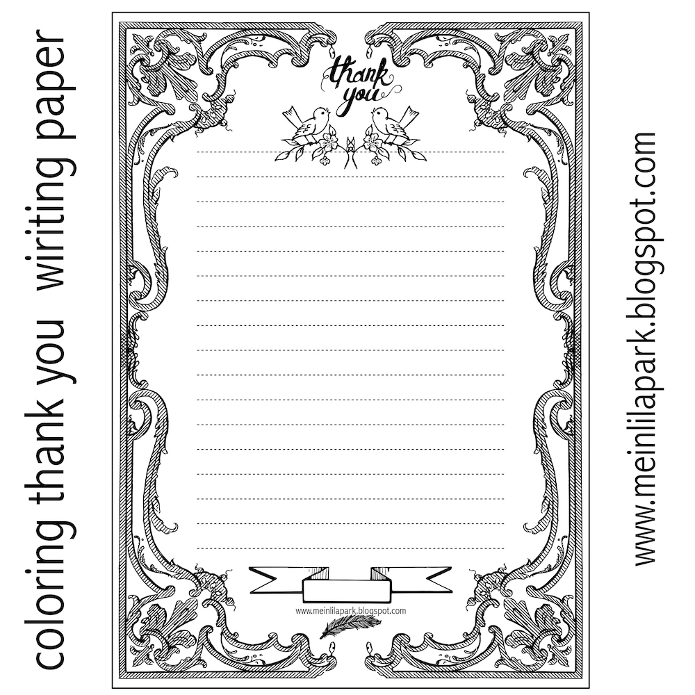 Free Printable Thank You Writing Paper - Ausruckbares Briefpapier - Writing Borders Free Printable