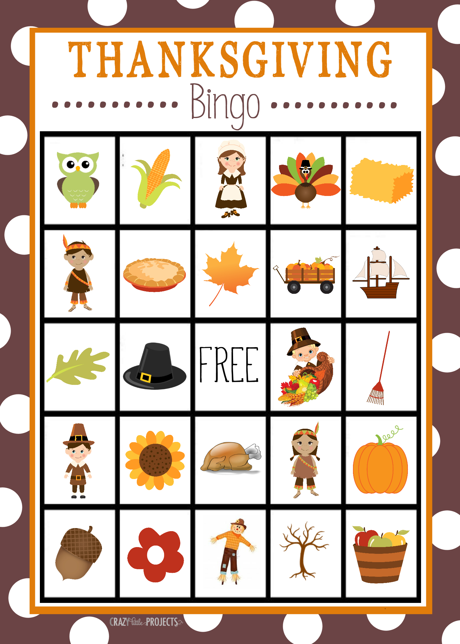 Free Printable Thanksgiving Bingo Game – Fun-Squared - Free Printable Loteria Game