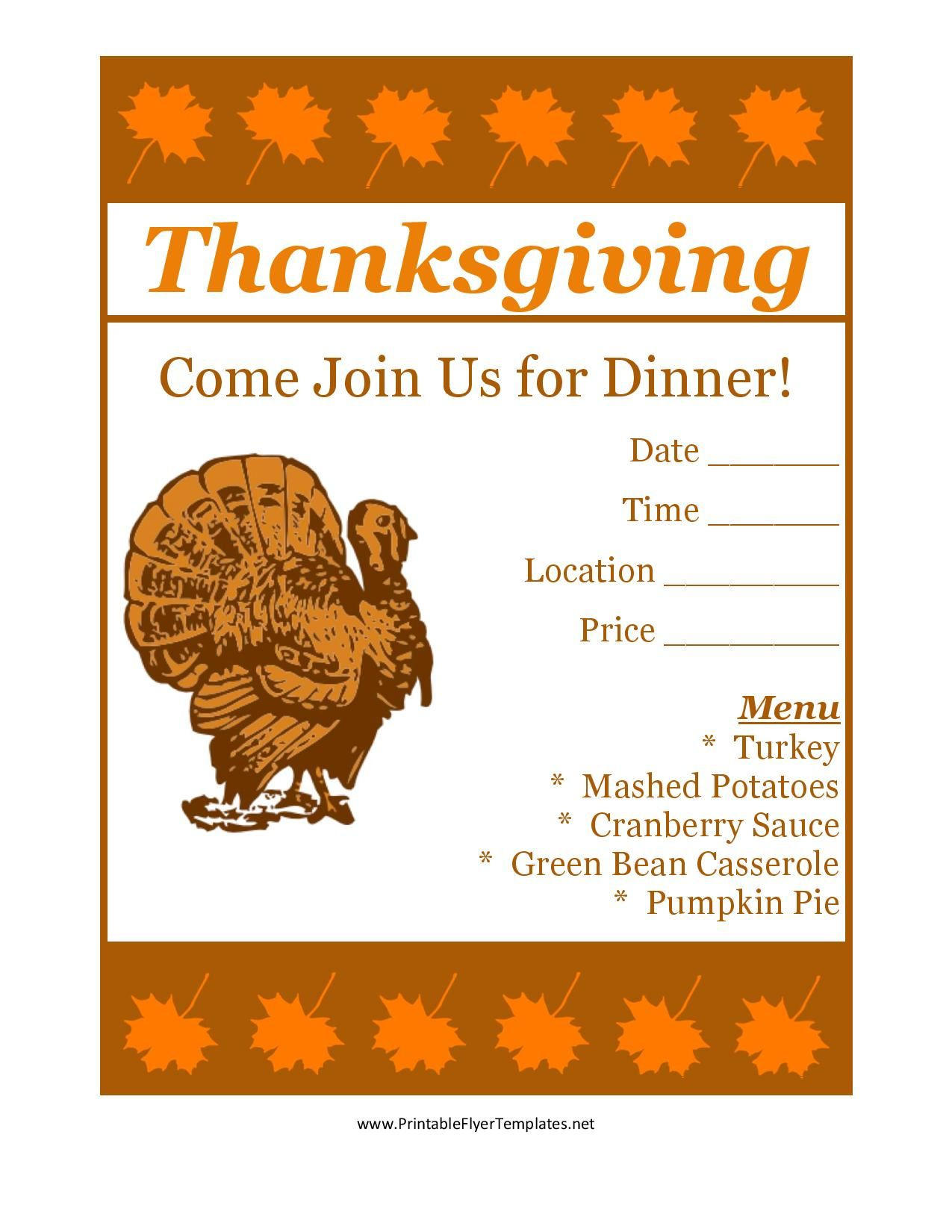 Free Printable Thanksgiving Flyer Invintation Template | Holiday's - Free Printable Thanksgiving Menu Template