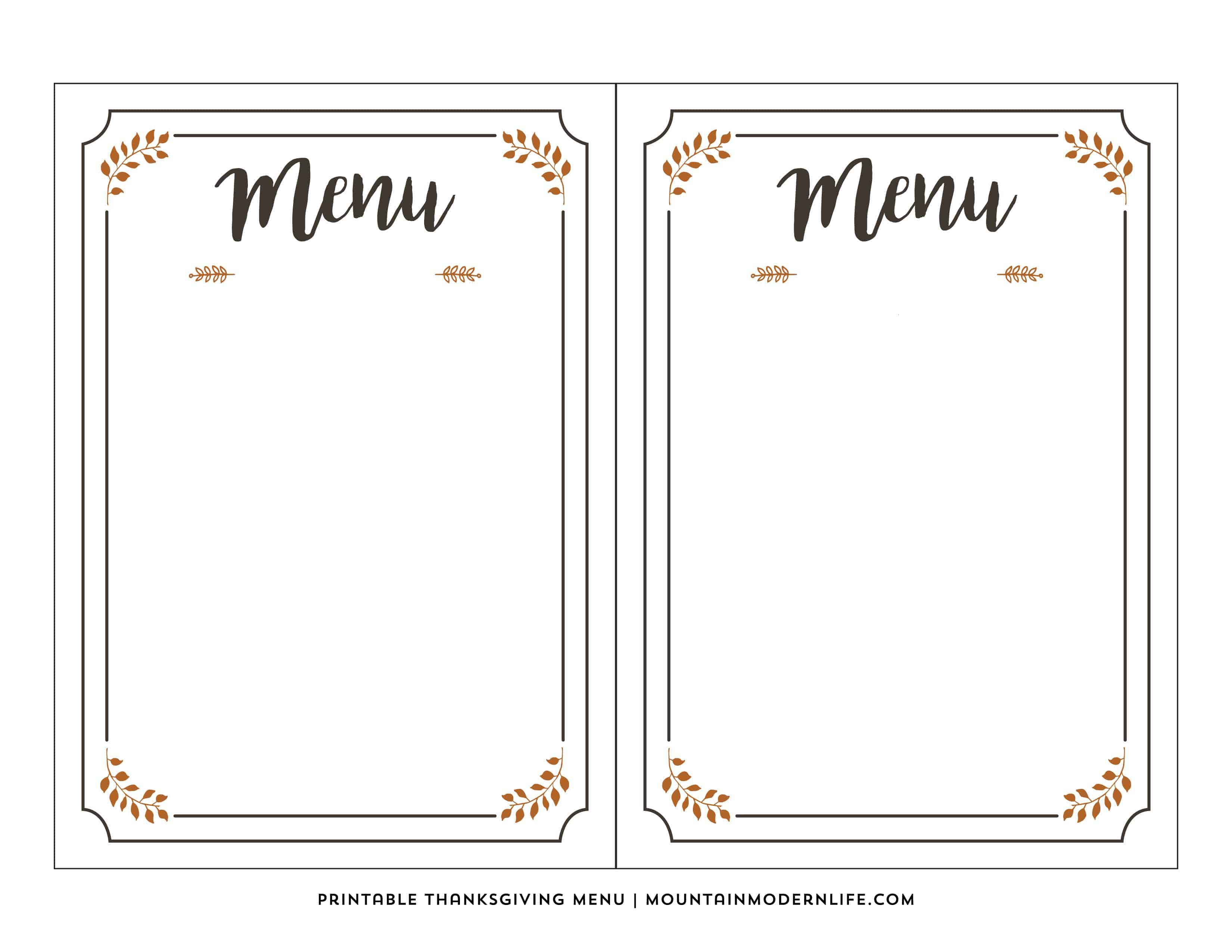 Free Printable Thanksgiving Menu   Mountainmodernlife - Free Printable Menu