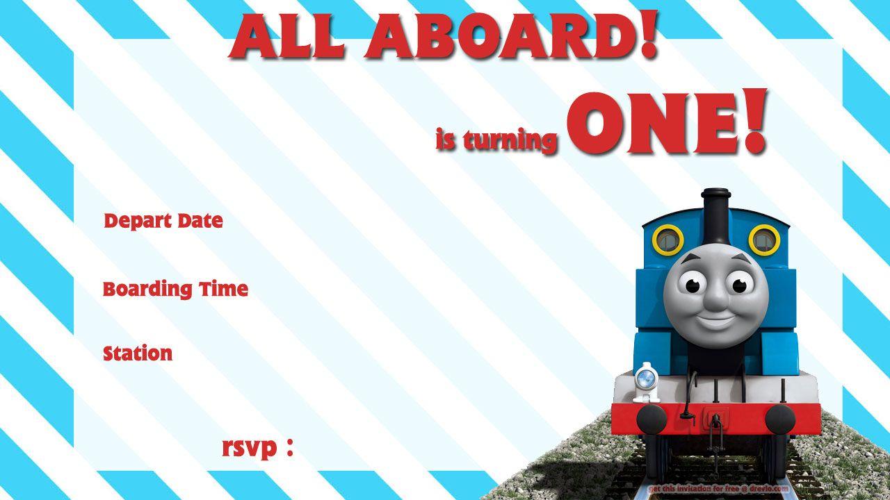 Free Printable Thomas The Train 1St Birthday Invitation   Alex Turns - Thomas Invitations Printable Free