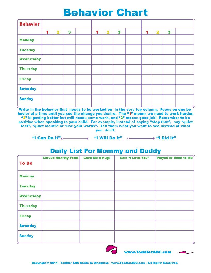 Free Printable Toddler Behavior Chart For 1, 2, 3, 4 And 5 Year Olds - Free Printable Reward Charts For 2 Year Olds