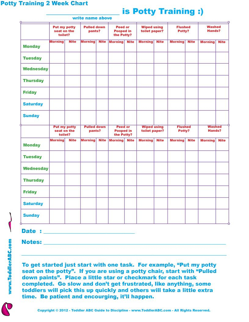 Free Printable Toddler Potty Training 2 Week Chart For 1, 2, 3, 4 - Free Printable Reward Charts For 2 Year Olds