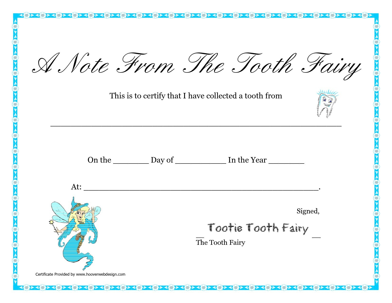 Free Printable Tooth Fairy Certificate Template Lovely Tooth - Free Printable Tooth Fairy Certificate