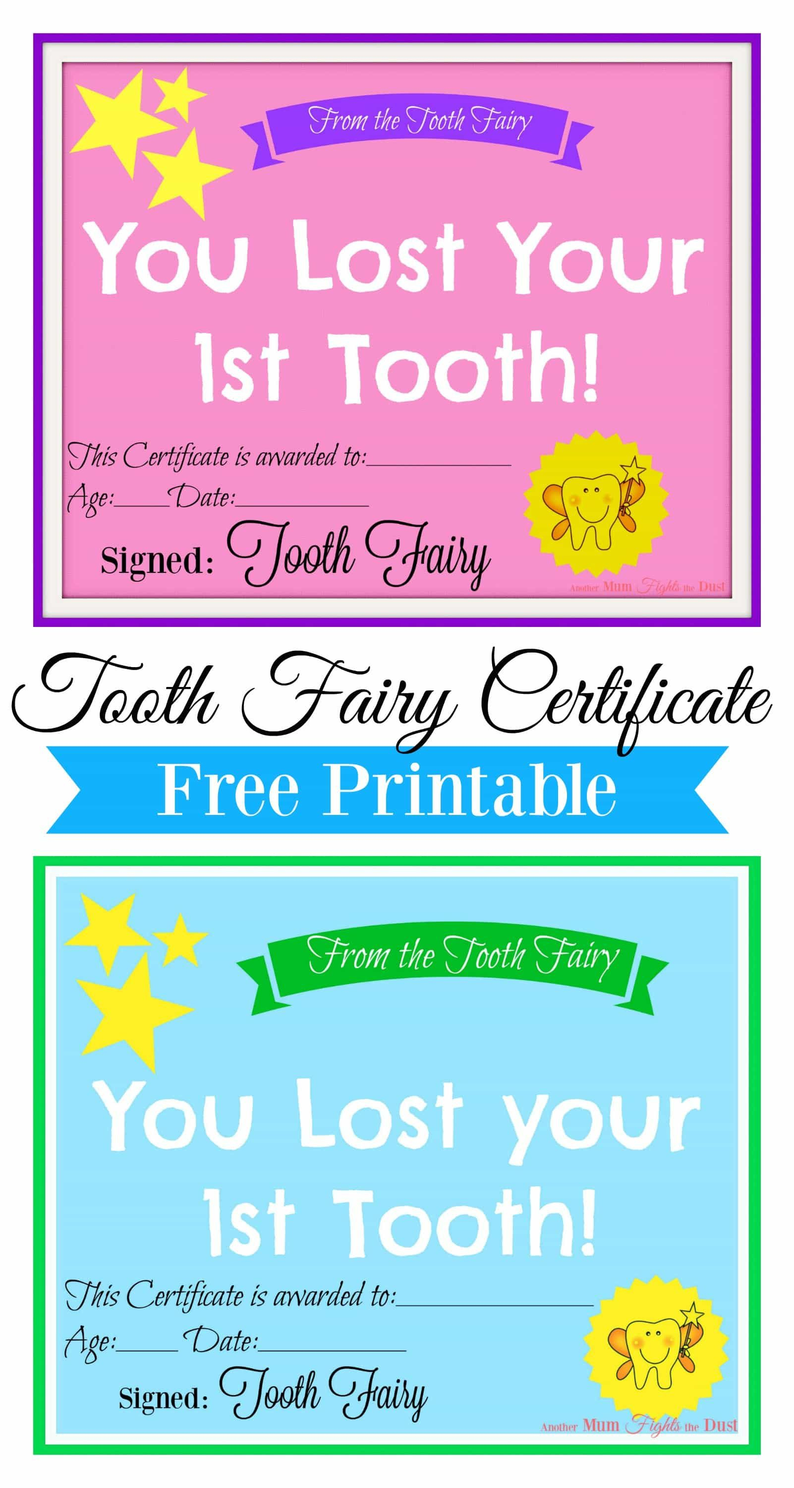 Free Printable Tooth Fairy Certificate | Tooth Fairy Ideas | Tooth - Free Printable First Lost Tooth Certificate