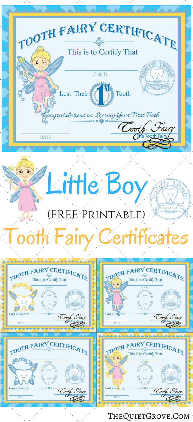 Free Printable Tooth Fairy Certificates   Kid's Boy/girl Stuff - Free Printable Tooth Fairy Certificate
