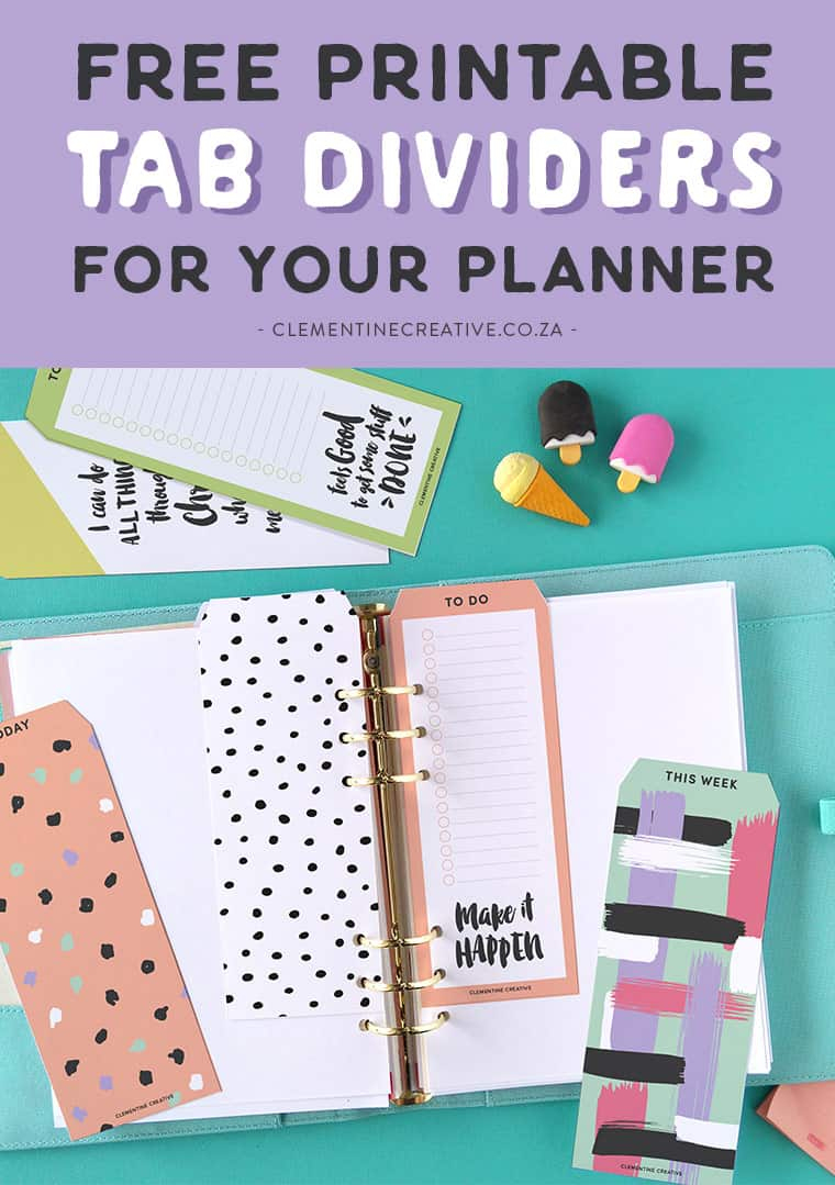Free Printable Top Tab Dividers For Planners, Diaries And Agendas - Free Printable Tabs For Binders