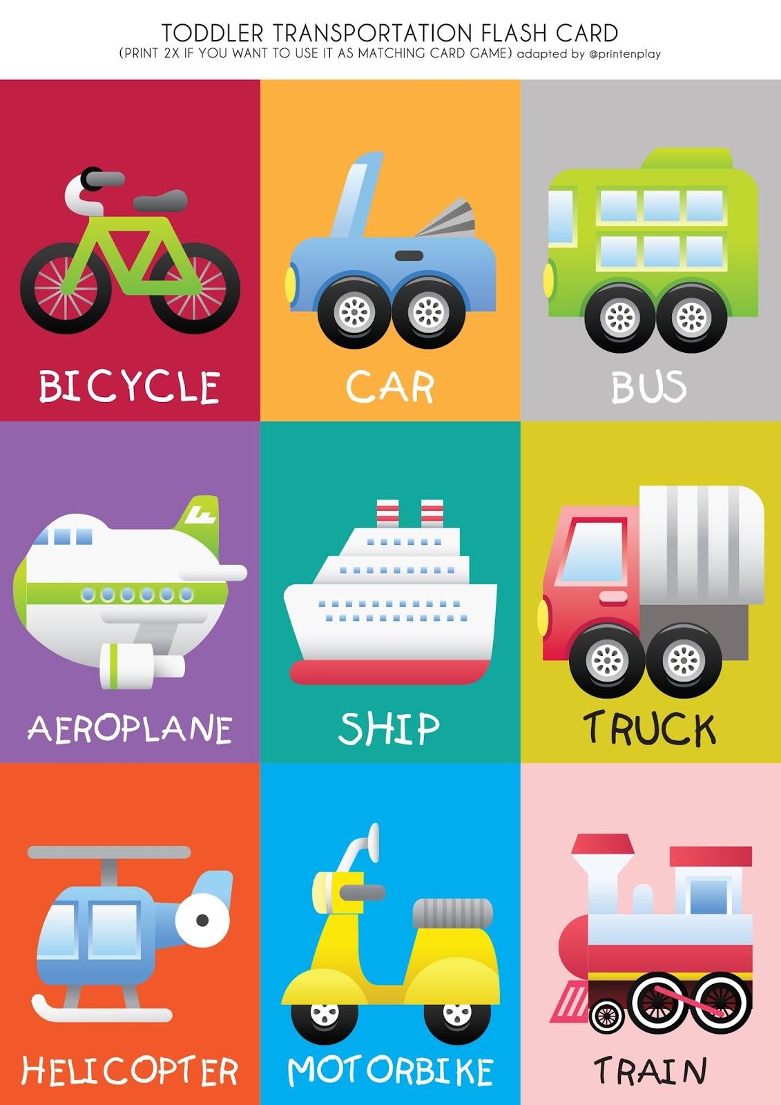 Free Printable - Transport Theme Flash Card | Print En Play - Free Printable Matching Cards