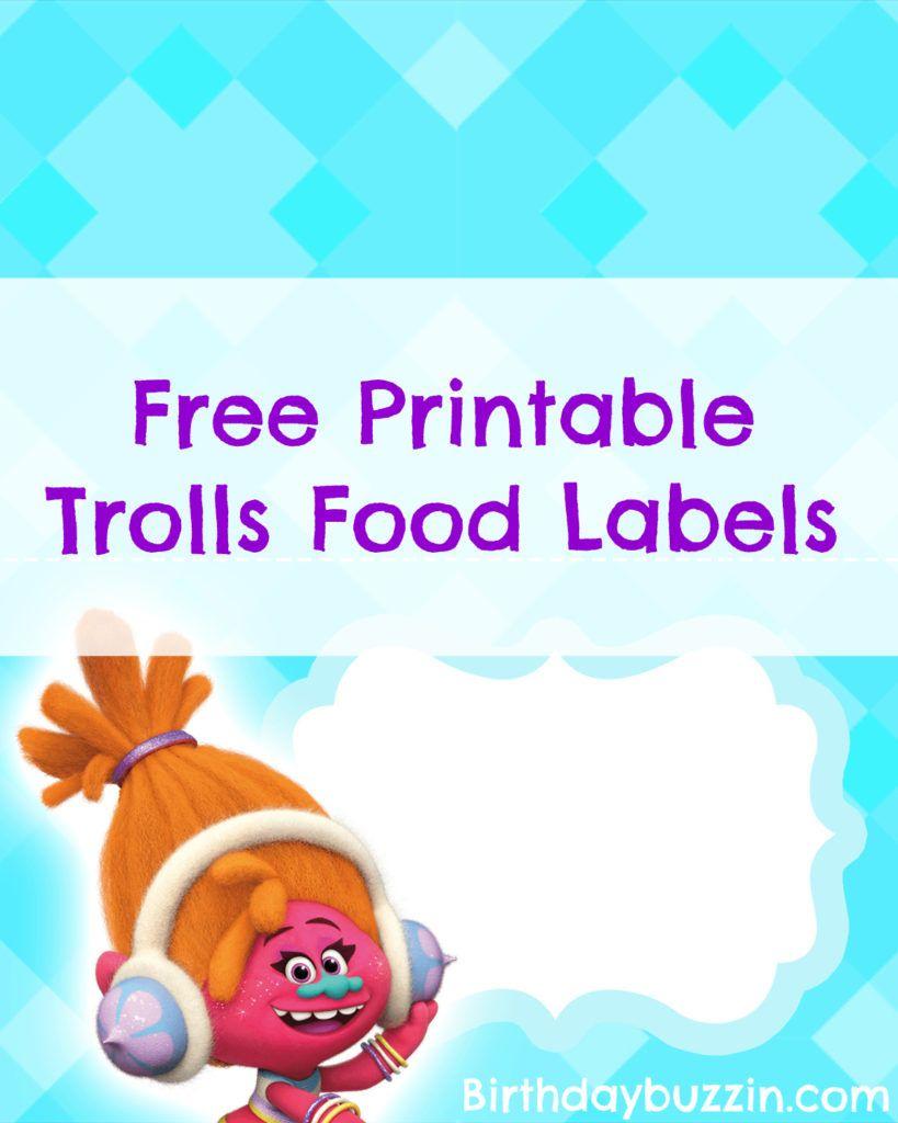 Free Printable Trolls Food Labels   Harper Bday   Pinterest   Trolls - Free Printable Trolls