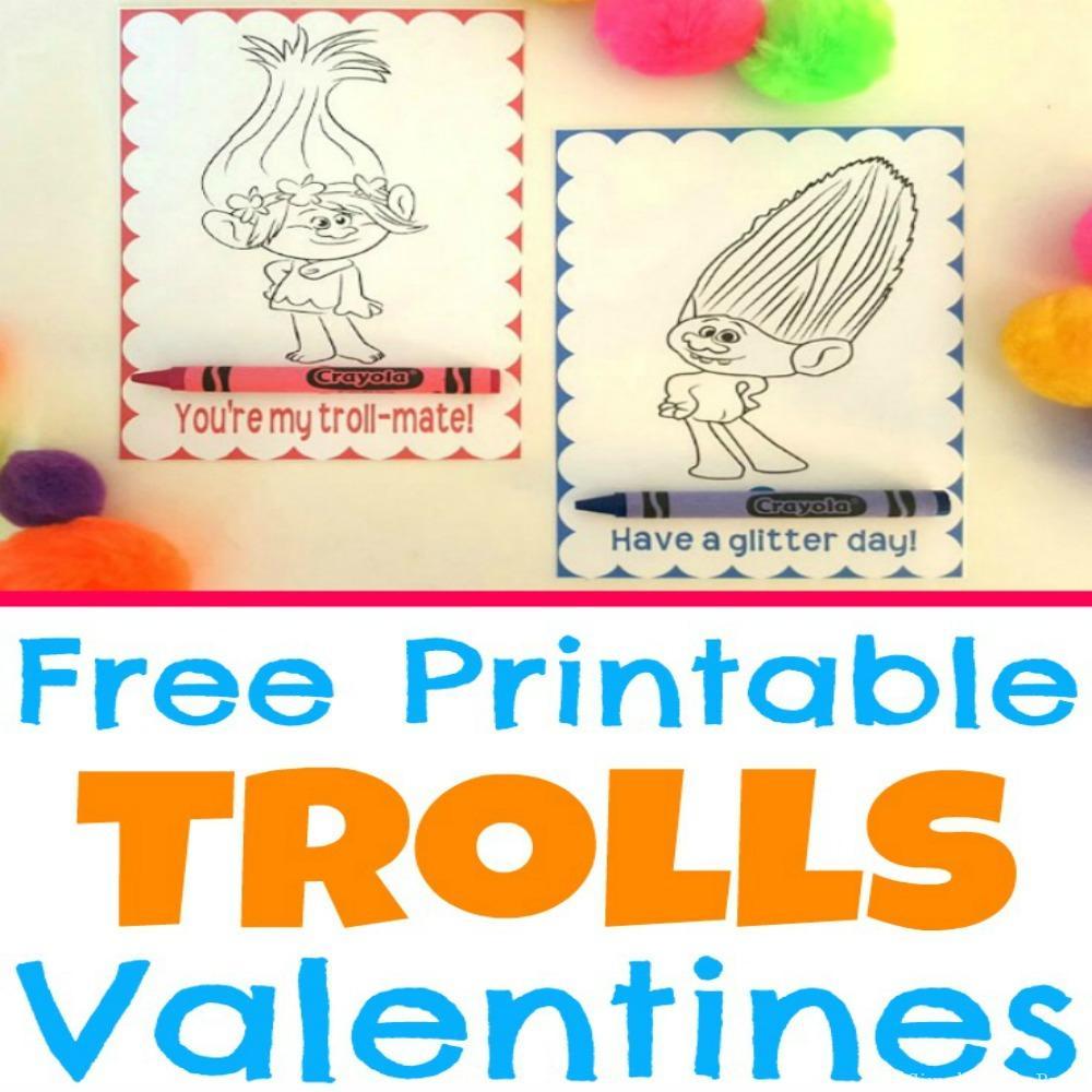 Free Printable Trolls Movie Valentine Coloring Cards - Simple Made - Free Printable Trolls