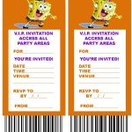 Free, Printable V.i.p. Ticket Style Spongebob Party Invitations   Spongebob Free Printable Invitations
