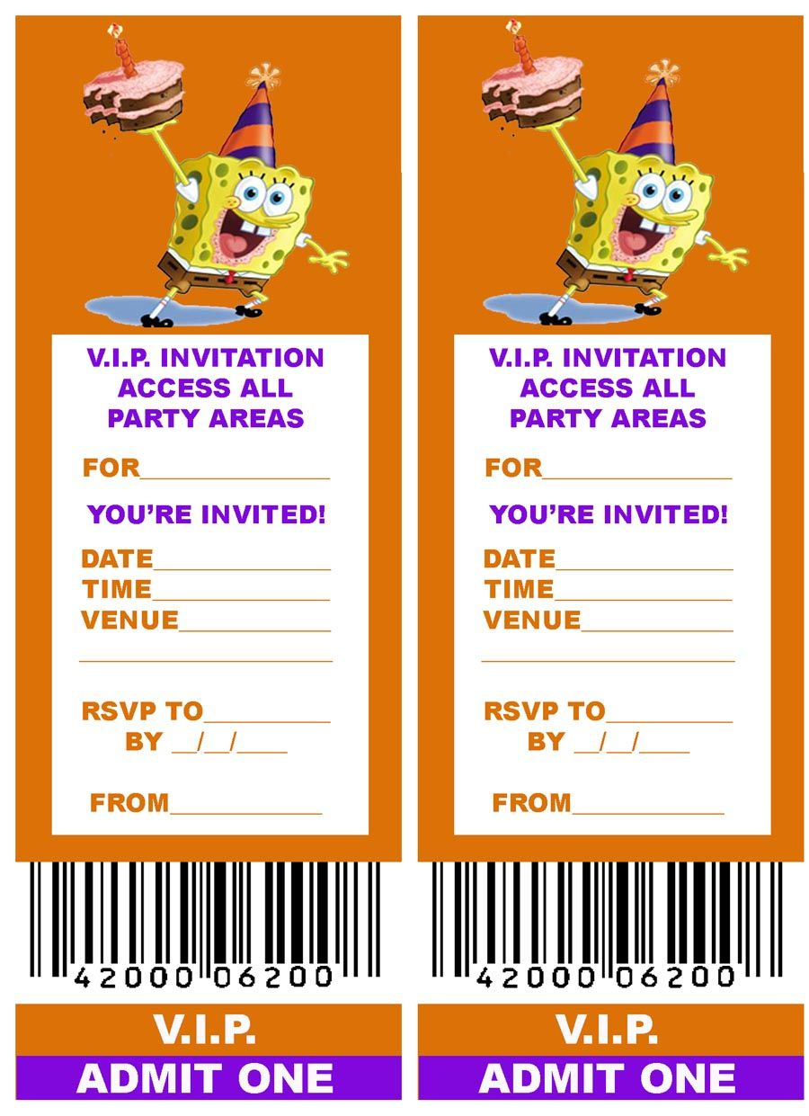 Free, Printable V.i.p. Ticket Style Spongebob Party Invitations - Spongebob Free Printable Invitations