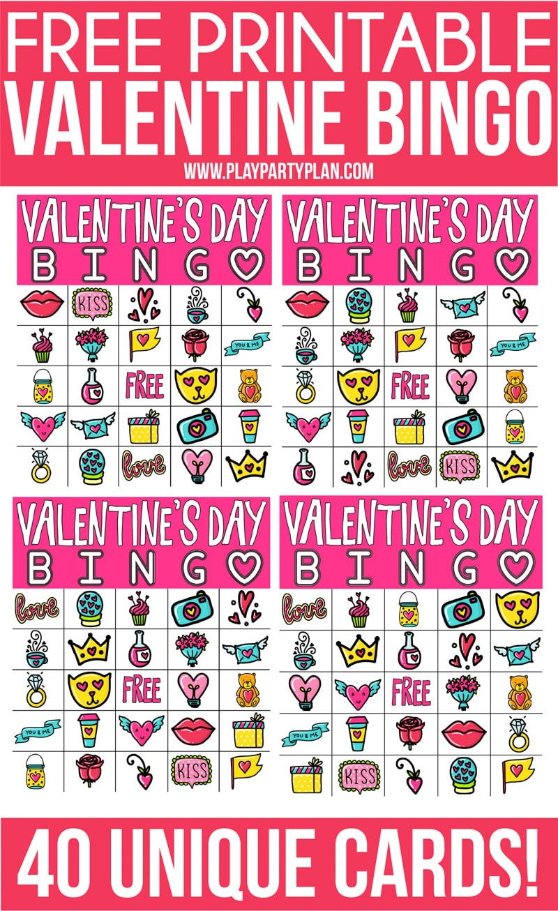 Free Printable Valentine Bingo Cards For All Ages - Play Party Plan - Free Printable Bingo Games
