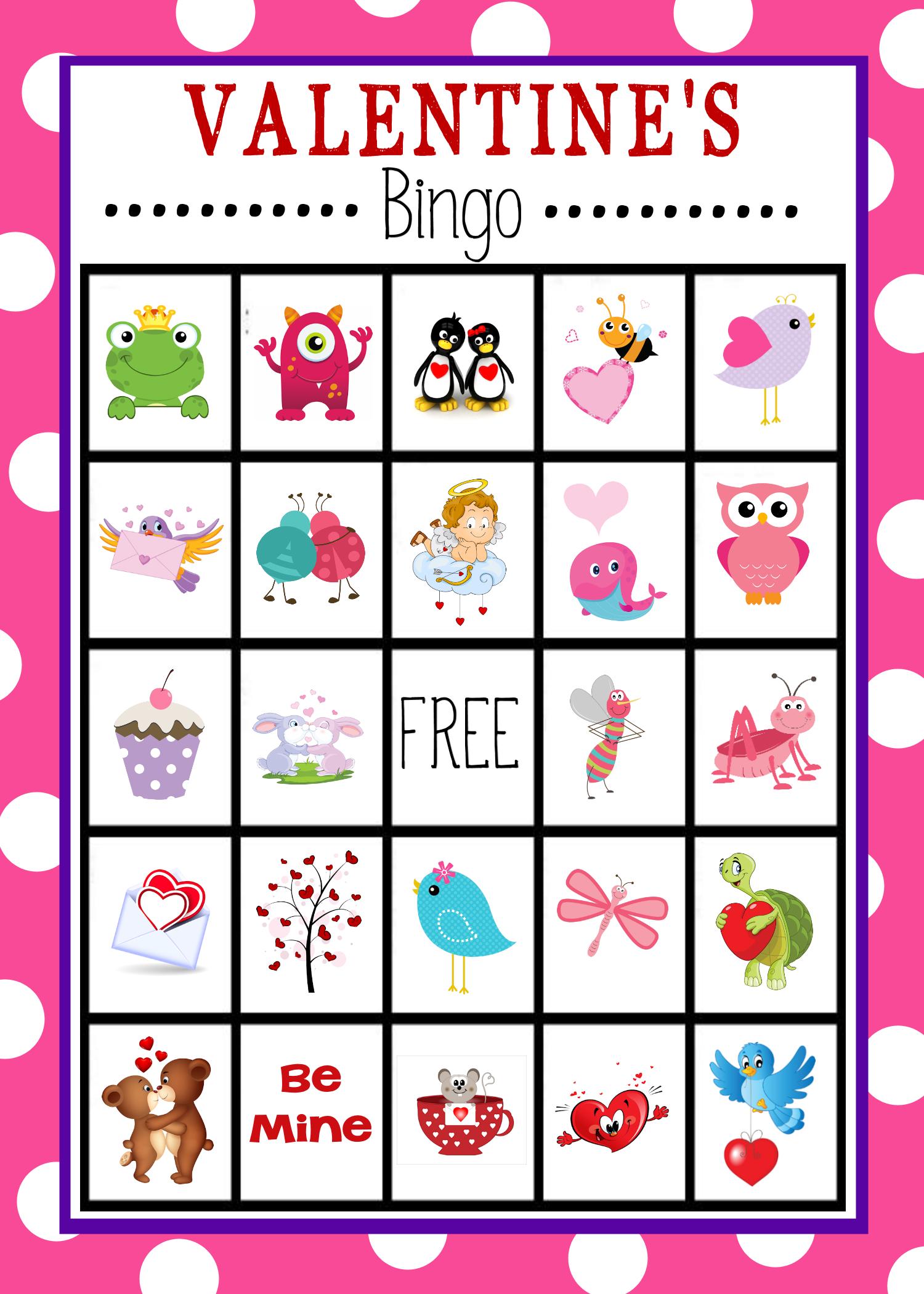 Free Printable Valentine's Day Bingo Game   Valentine's Day - Free Printable Valentines Bingo