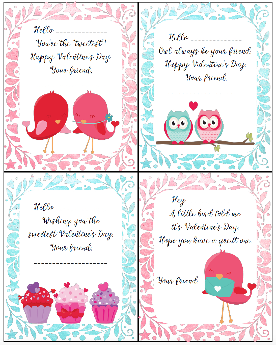 Free Printable Valentine's Day Cards For Kids - Free Printable Valentines Day Cards