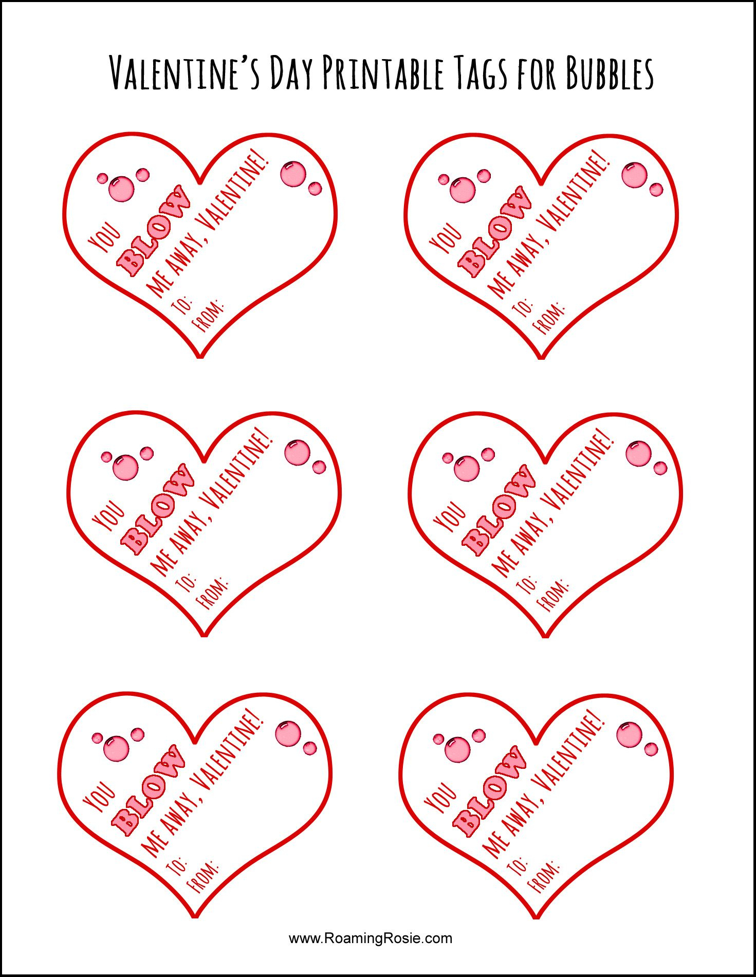 Free Printable Valentine's Day Tags For Bubbles   Valentine's Day - Free Printable Valentines Day Tags