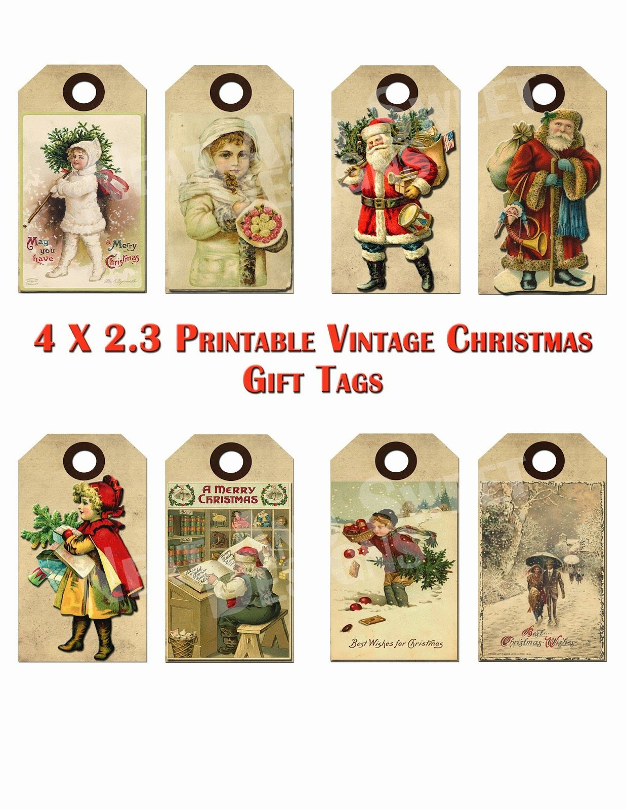 Free Printable Vintage Christmas Tags - Google Search | Craft Ideas - Free Printable Vintage Christmas Tags For Gifts