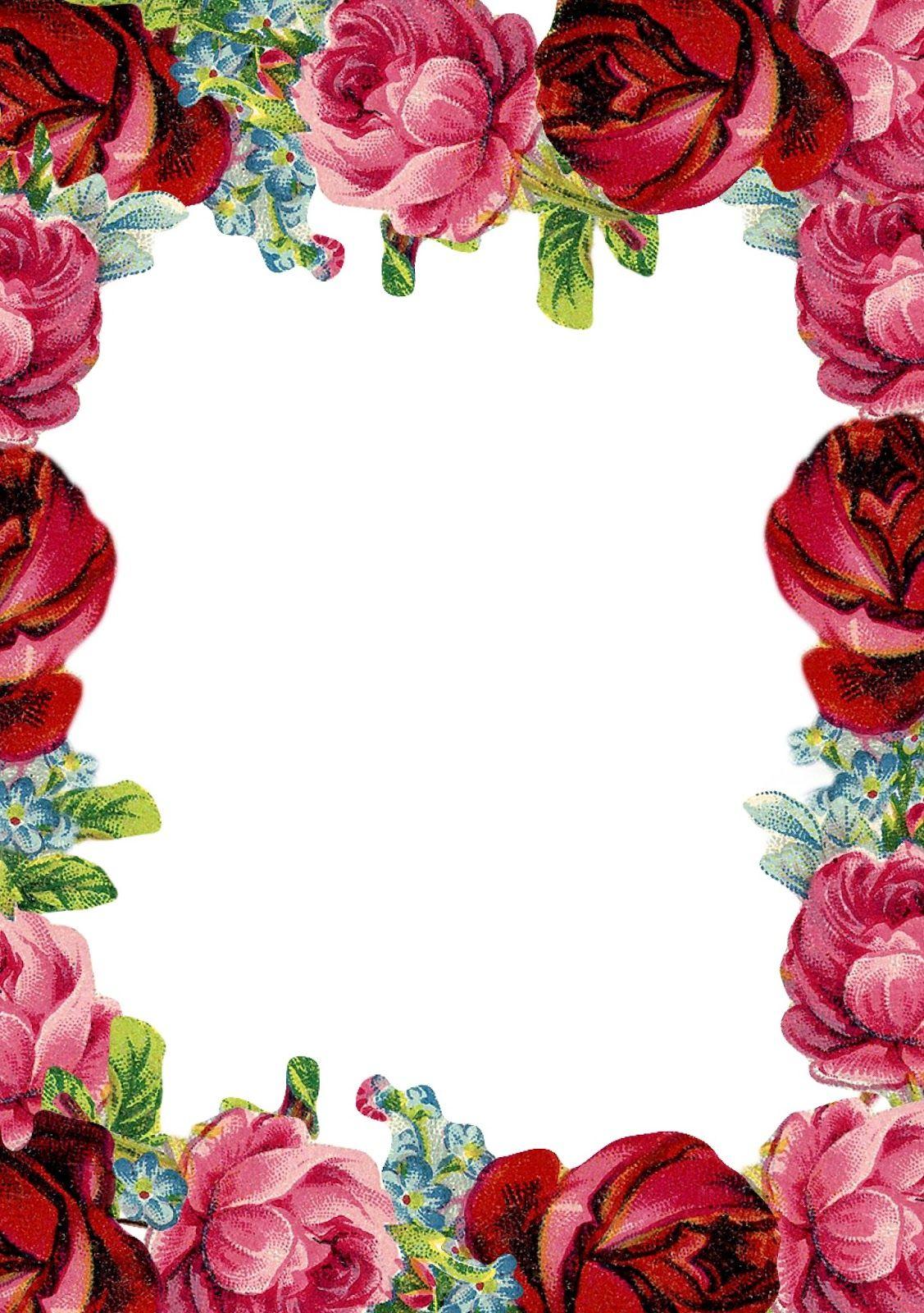 Free Printable Vintage Rose Stationery - Ausdruckbares Briefpapier - Free Printable Roses