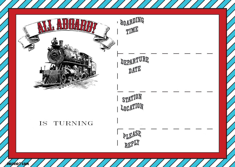 Free Printable Vintage Train Ticket Invitation | Free Printable - Free Printable Train Pictures