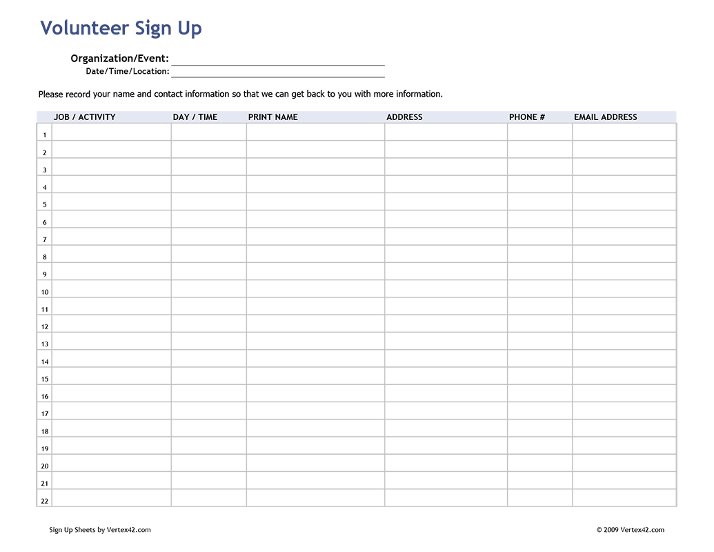 Free Printable Volunteer Sign Up Sheet (Pdf) From Vertex42 - Free Printable Sign In Sheet