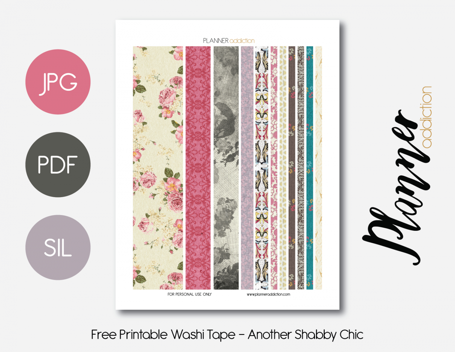 Free Printable Washi Tape - Another Shabby Chic | Organization - Free Printable Washi Tape