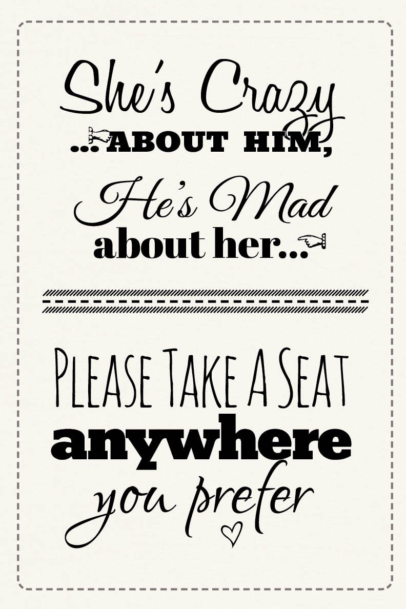 Free Printable Wedding Download: Pick A Seat Sign | Dream Come True - Free Printable Wedding Signs