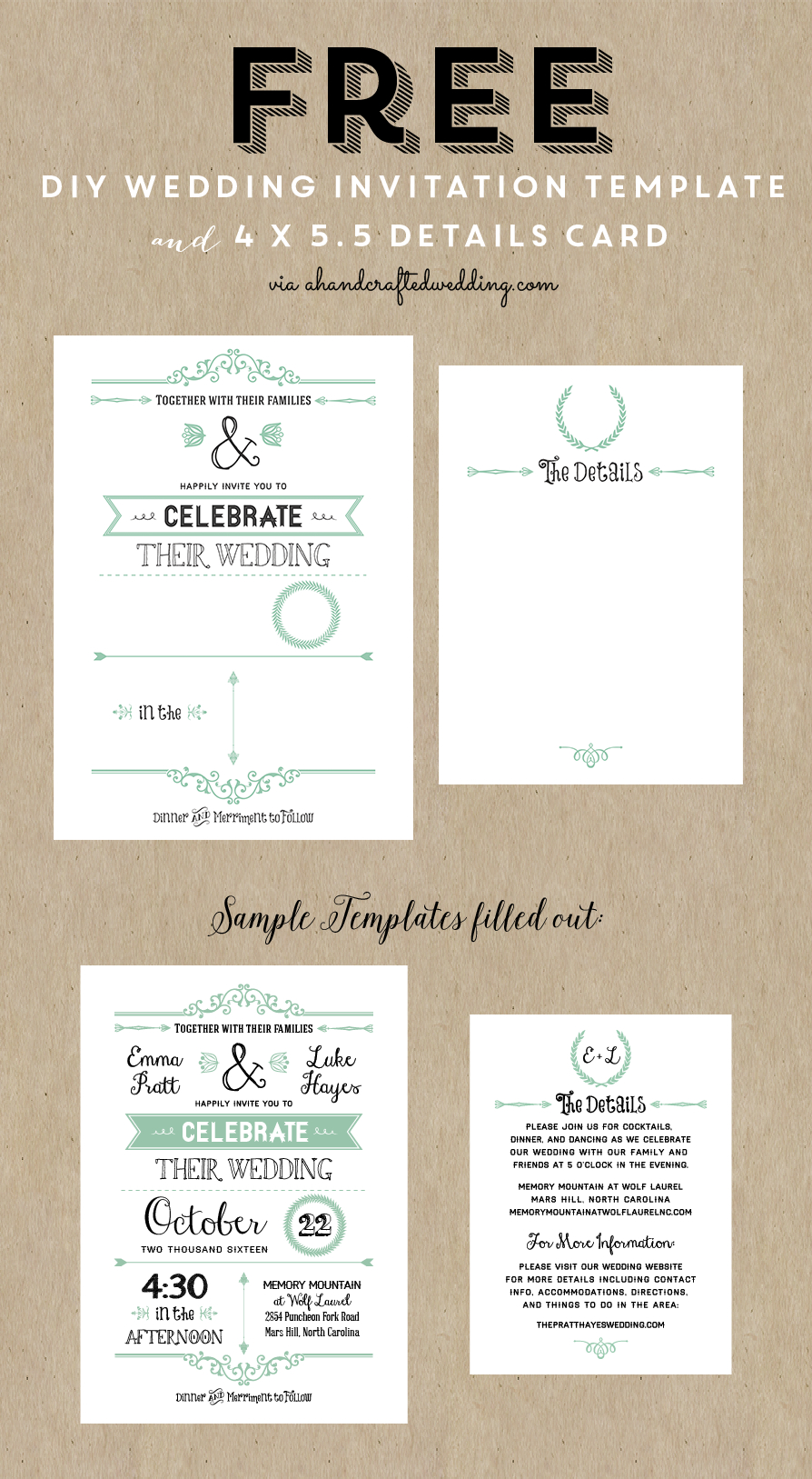 Free Printable Wedding Invitation Template | Wedding | Pinterest - Free Printable Enclosure Cards