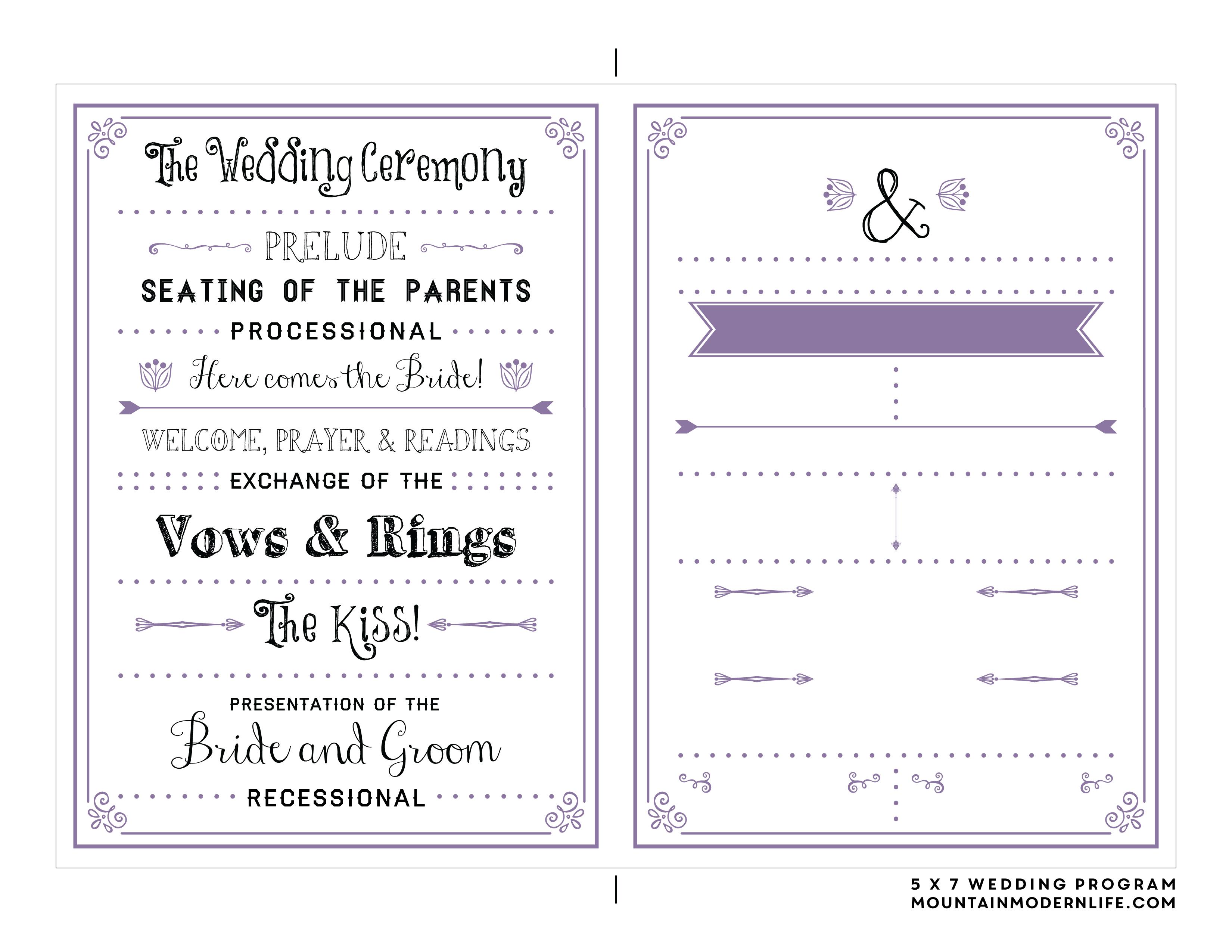 Free Printable Wedding Program | Mountainmodernlife - Free Printable Wedding Fan Templates