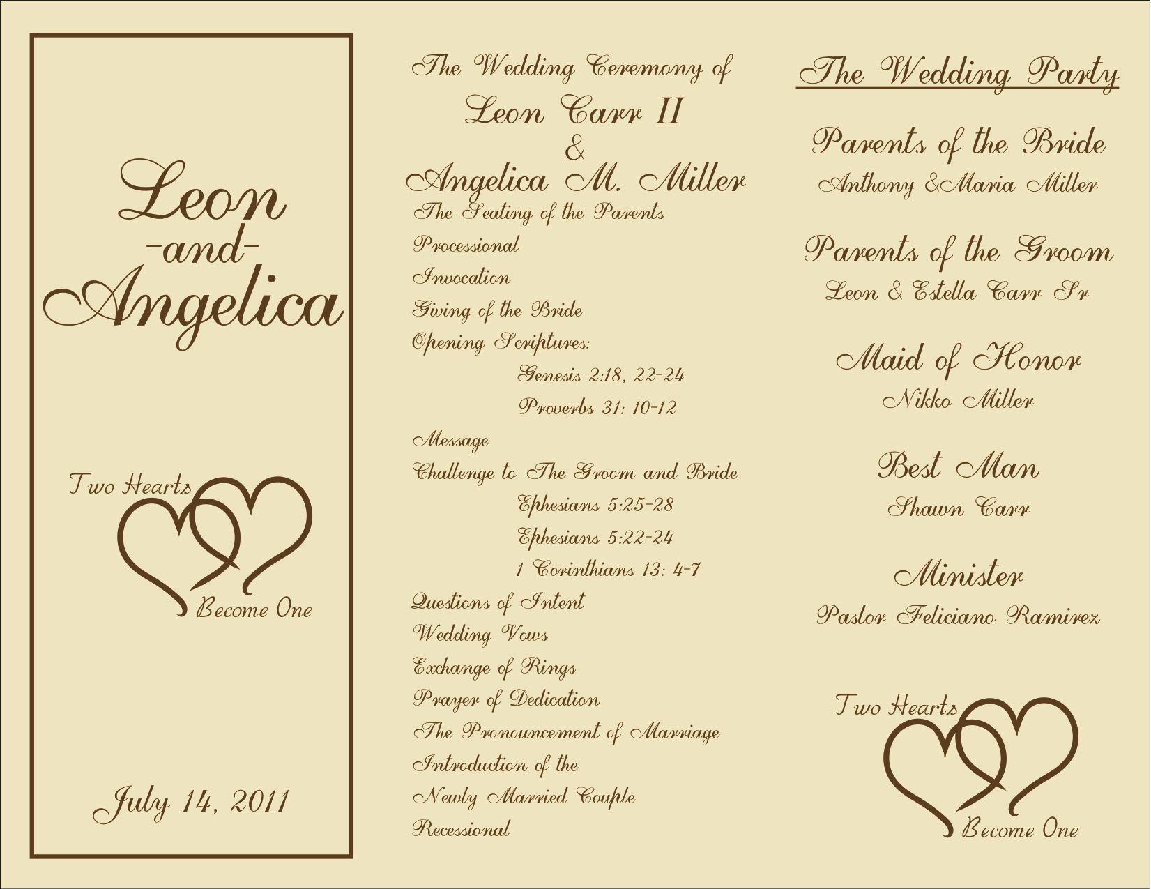 Free Printable Wedding Programs Templates   : Sample Wedding - Free Printable Wedding Program Samples