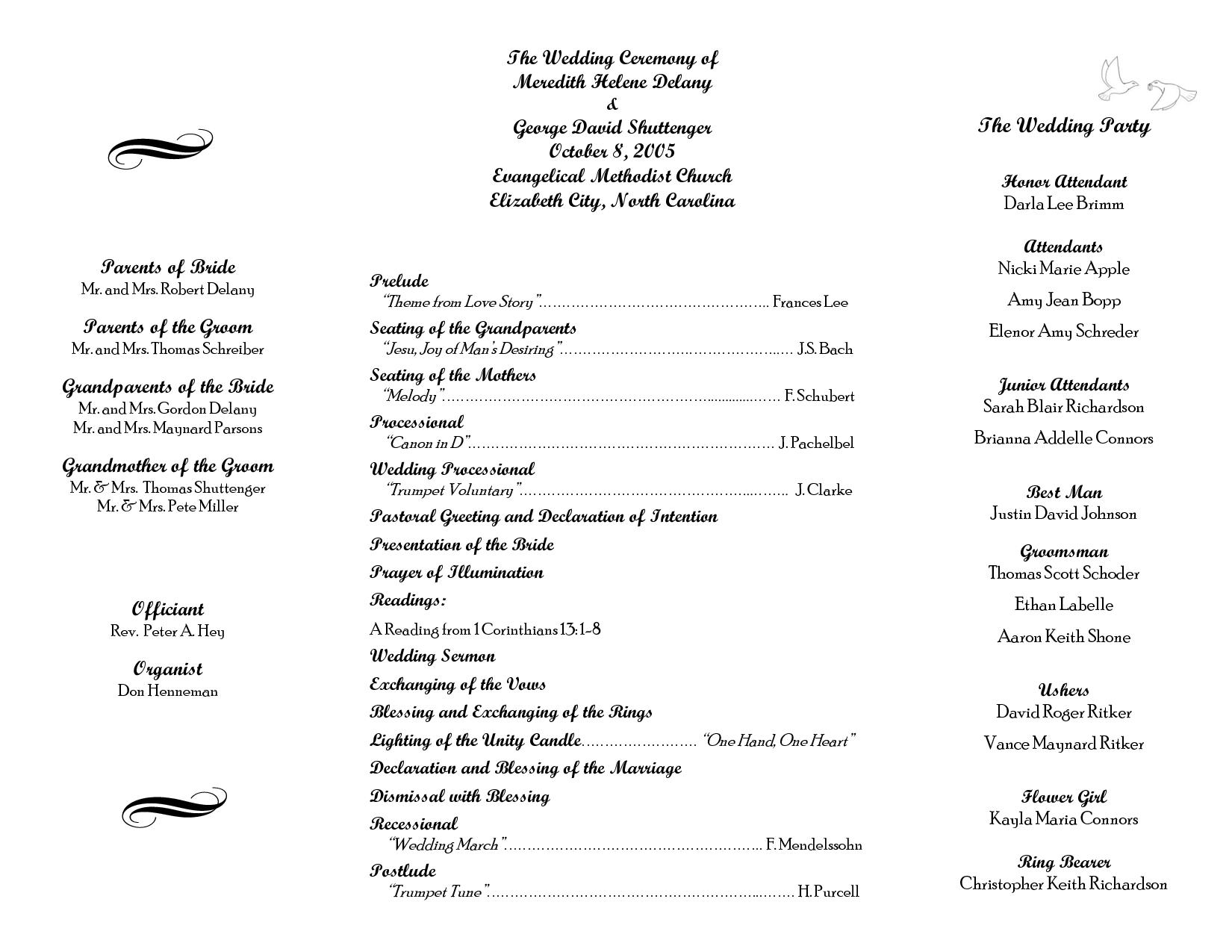 Free Printable Wedding Programs Templates | Wedding Program Sample - Free Printable Wedding Program Templates Word