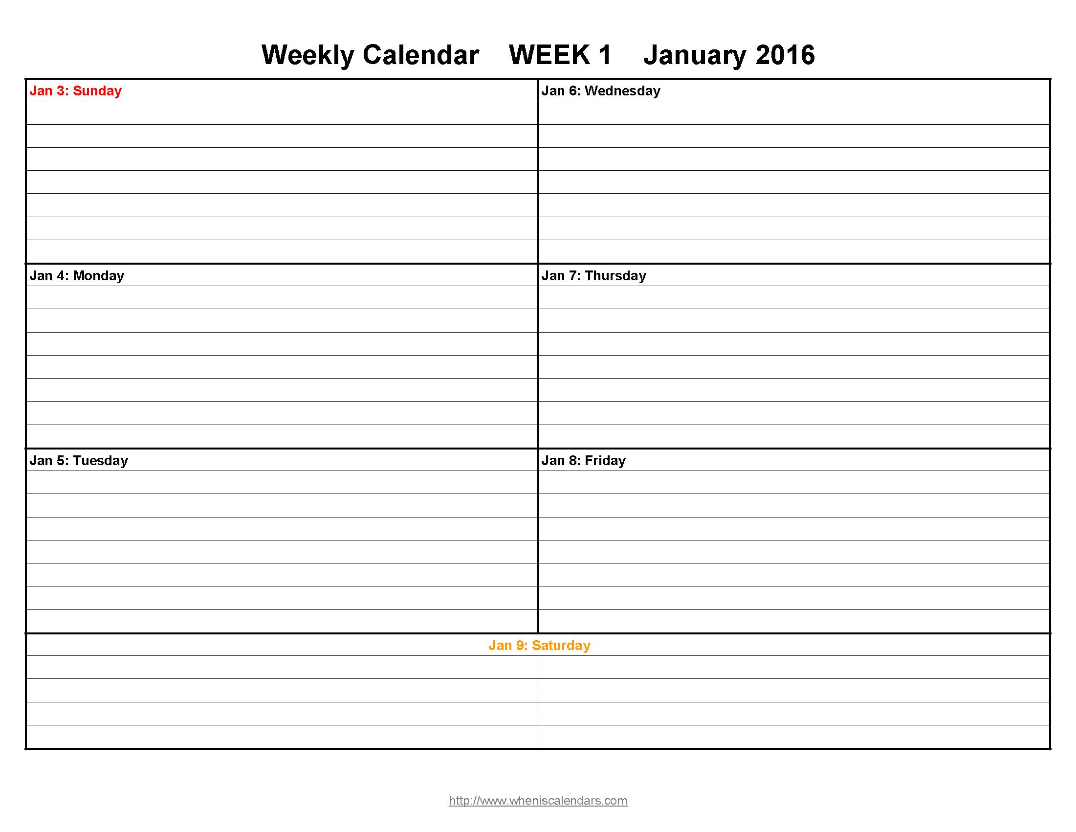 Free Printable Weekly Calendars 2016 | Aaron The Artist - Free Printable Pocket Planner 2016
