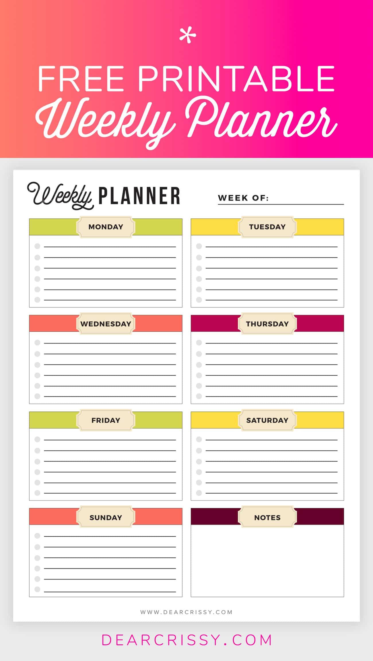 Free Printable Weekly Planner - Weekly Planner Printable! - Free Printable Weekly Planner