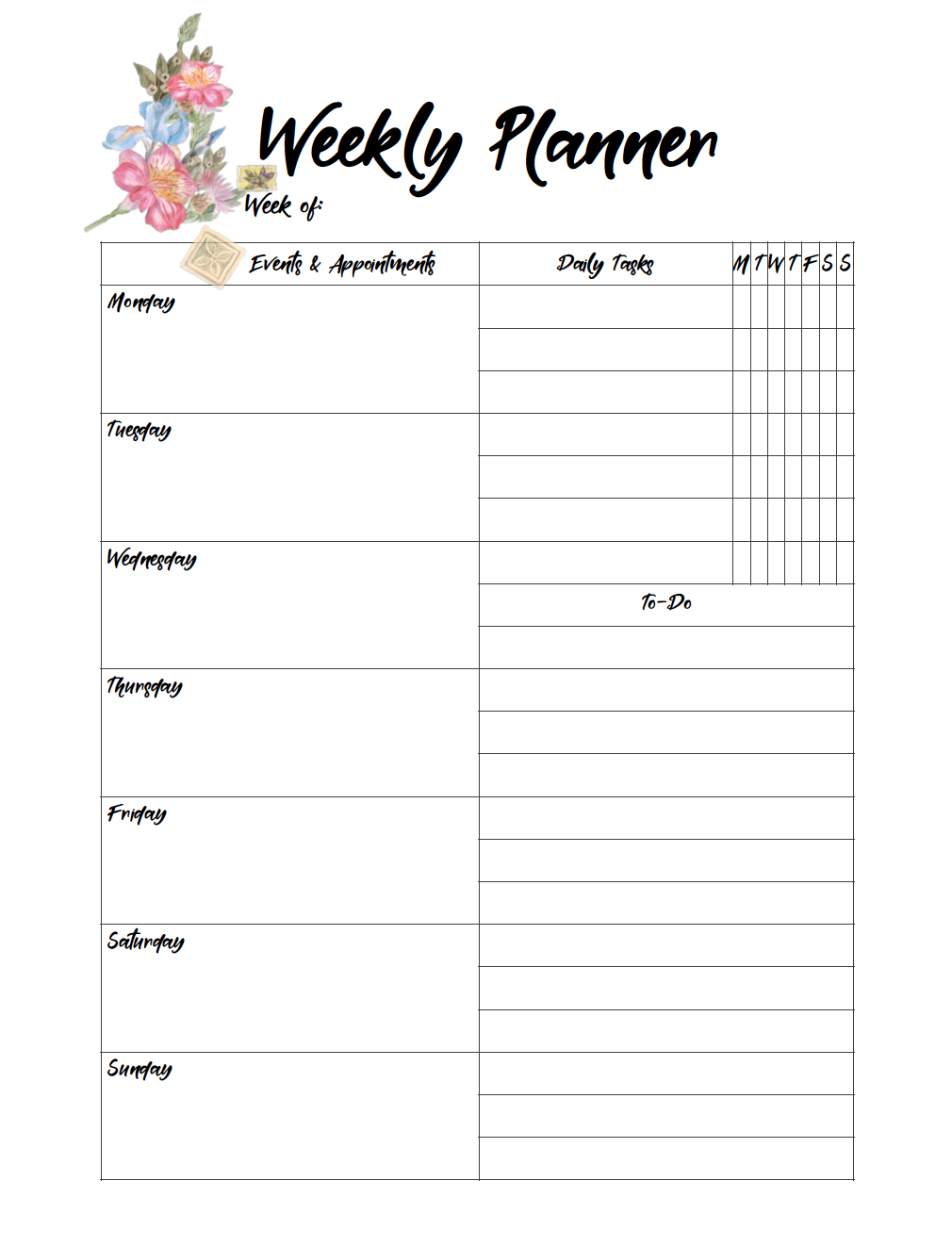 Free Printable Weekly Planners: Monday Start - Free Printable Weekly Planner