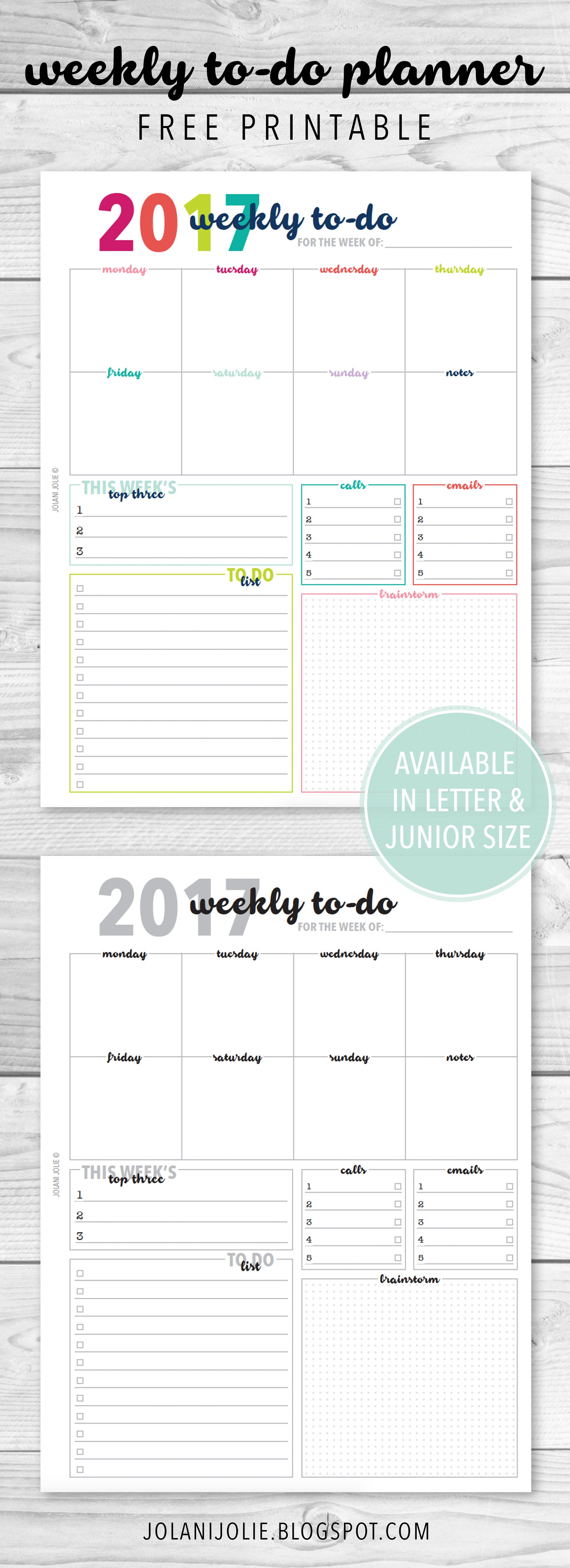 Free Printable: Weekly To Do Planner Insert | Planners | Planner - Free Printable Student Planner 2017
